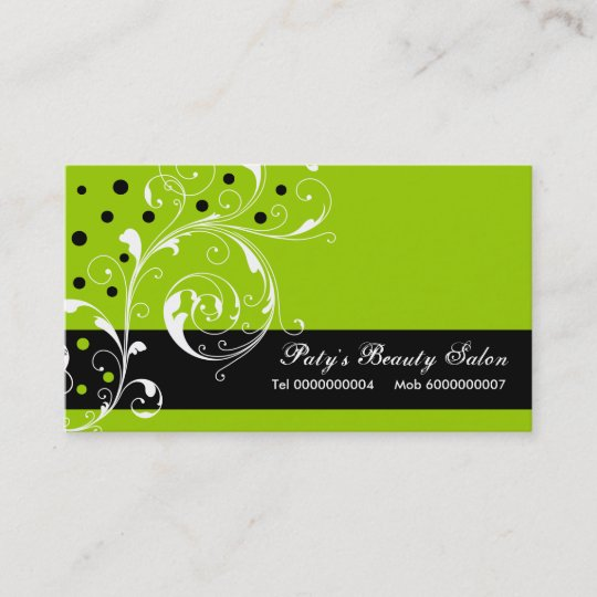 Beauty Salon Floral Scroll Leaf Black Lime Green Business Card