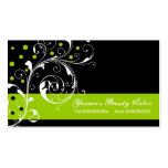 Beauty Salon floral scroll leaf black, lime green Pack Of Standard Business Cards