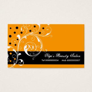 Beauty Salon floral scroll leaf black, orange