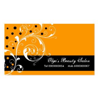 Beauty Salon floral scroll leaf black, orange Business Cards