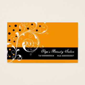 Beauty Salon floral scroll leaf black, orange Business Card