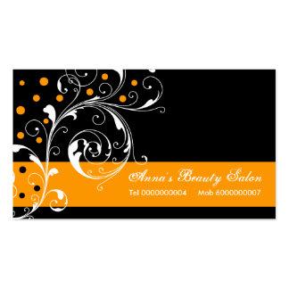 Beauty Salon floral scroll leaf black orange Business Card Templates