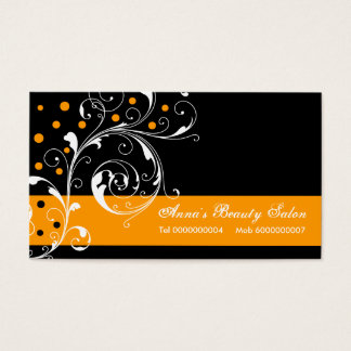 Beauty Salon floral scroll leaf black orange Business Card
