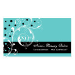 Beauty Salon floral scroll leaf black, turquoise Pack Of Standard Business Cards