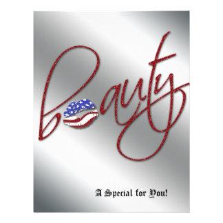 Beauty Salon Flyer Hair USA Flag Red