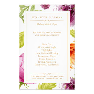Beauty Salon Garden Floral Boutique Service Menu