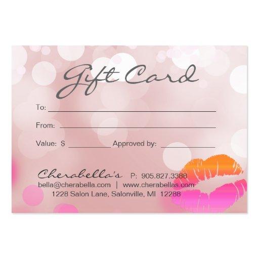 Beauty salon gift card lips lights pink business card templates wajeb Choice Image