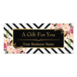 Beauty Salon Gift Certificate Gold Floral Stripes 10 Cm X 24 Cm Invitation Card