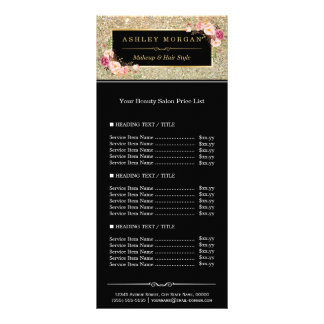 Beauty Salon Gold Glitter Flowers Price List Rack Card