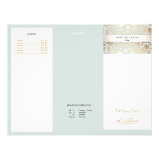 Beauty Salon Gold Light Blue Circle Menu Brochure 21.5 Cm X 28 Cm Flyer