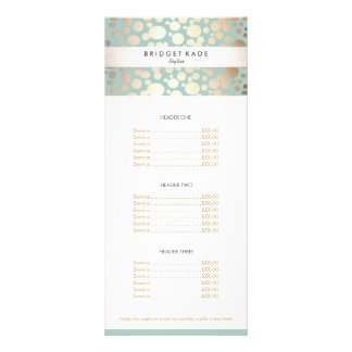 Beauty Salon Gold Turquoise Spotted Pattern Menu