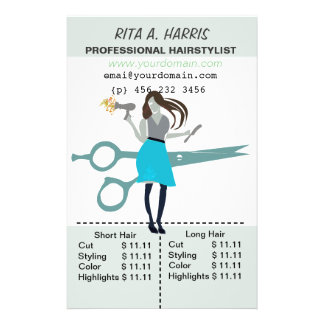 Beauty Salon Hairstylist  Hair Stylist Price List 14 Cm X 21.5 Cm Flyer