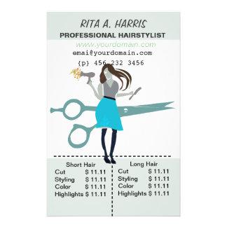 Beauty Salon Hairstylist  Hair Stylist Price List Flyer