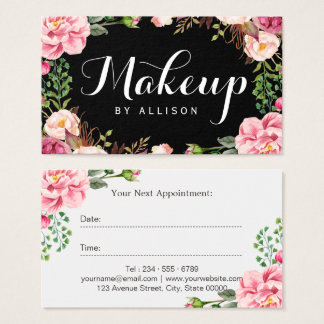 Beauty Salon Makeup Script Floral Appointment Card