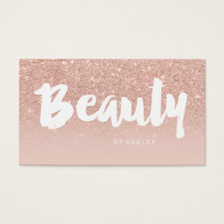 Beauty salon modern typography blush rose gold business card