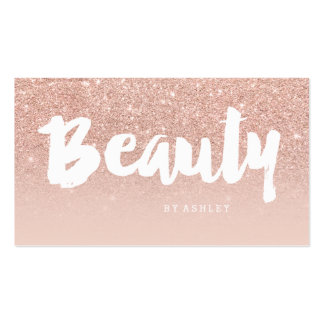Beauty salon modern typography blush rose gold pack of standard business cards