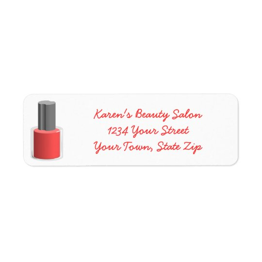 Beauty Salon Nail Polish Return Address Labels