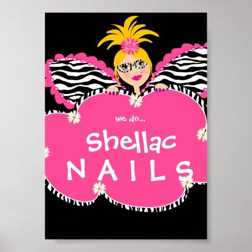 Beauty Salon Nails Cute Fairy Fashion Poster Pink