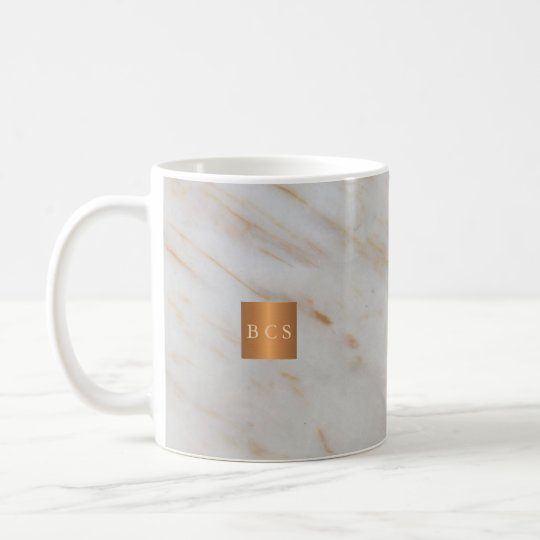 Beauty salon name gold copper marble monogram coffee
