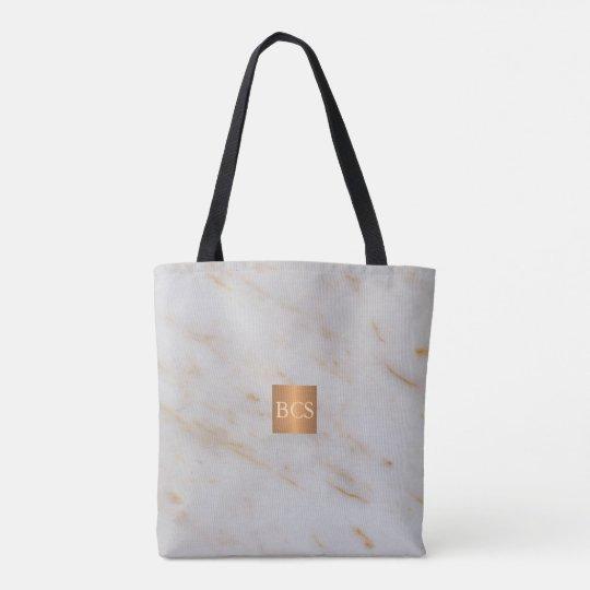 Beauty salon name gold copper marble monogram tote