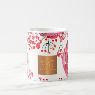 Beauty salon name gold copper watercolor floral coffee mug