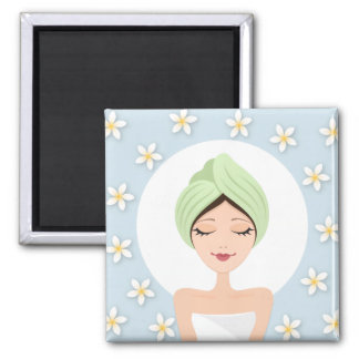 Beauty salon or spa woman wrapped towel pale blue square magnet