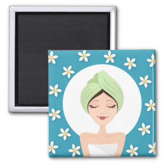 Beauty salon or spa woman wrapped towel teal blue square magnet