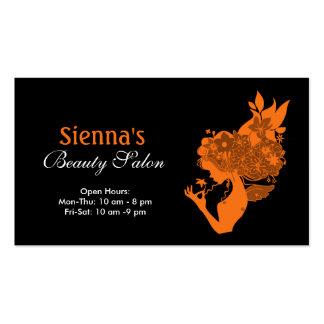 Beauty Salon Orange Business Card Template