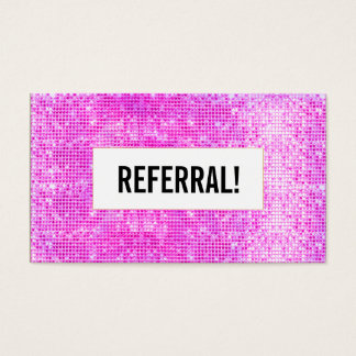 Beauty Salon Referral Card Hot Pink Sequin