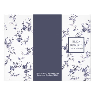 Beauty Salon Vintage Blue Floral Trifold Flyer