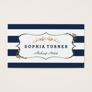 Beauty Salon Vintage Floral Gold Double-Sided Business Card