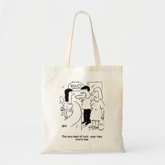 Beauty salon - your time starts... now! budget tote bag