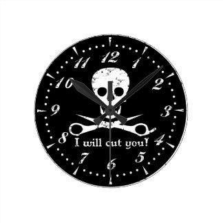 Beauty Shop Pirate_Distressed_White Wall Clocks