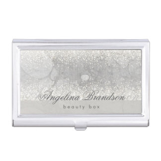 Beauty Silver Soft Glitter Luxurious Box Holder Case For Business Cards