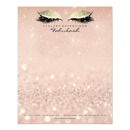 Beauty Studio Lashes Makeup Stylist Gold Blush Flyer