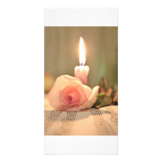 Beauty treatment-pink rose and candle custom photo card