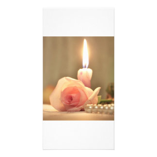 Beauty treatment-pink rose and candle photo cards