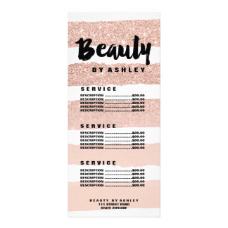 Beauty typography rose stripe gold price list side rack card