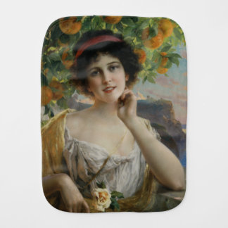 Beauty Under the Orange Tree by Emile Vernon Burp Cloth