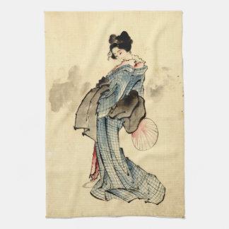 Beauty with Fan 1840 Tea Towel
