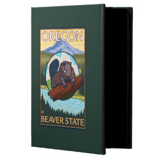 Beaver and Mount Hood Scene Vintage Travel Case For iPad Air