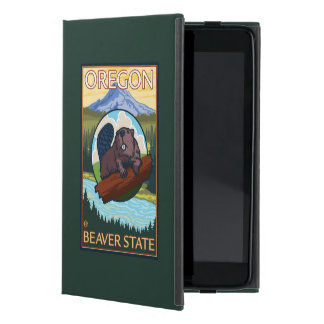 Beaver and Mount Hood Scene Vintage Travel iPad Mini Case