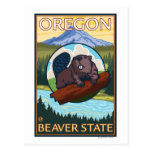 Beaver and Mount Hood Scene Vintage Travel Postcard