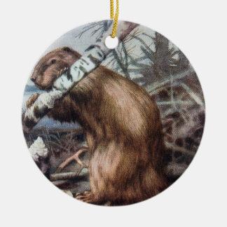 Beaver And Tree Illustration Round Ceramic Decoration