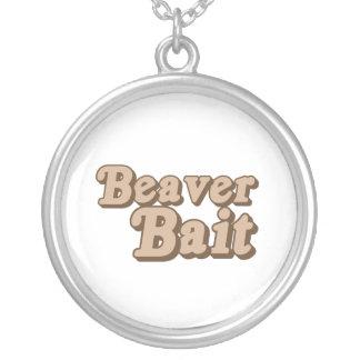 Beaver Bait Round Pendant Necklace