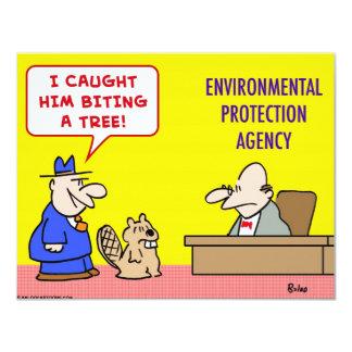beaver biting tree environmental protection agency 11 cm x 14 cm invitation card