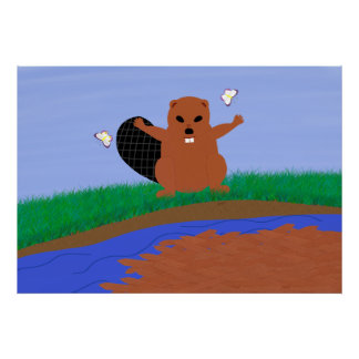 Beaver Building Dam Cartoon Art Poster