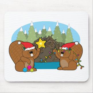 Beaver Christmas Mouse Pad