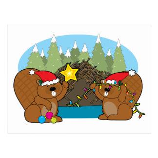 Beaver Christmas Postcard