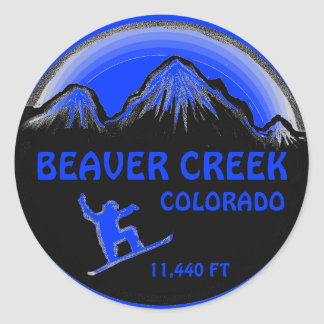 Beaver Creek Colorado blue snowboard art stickers